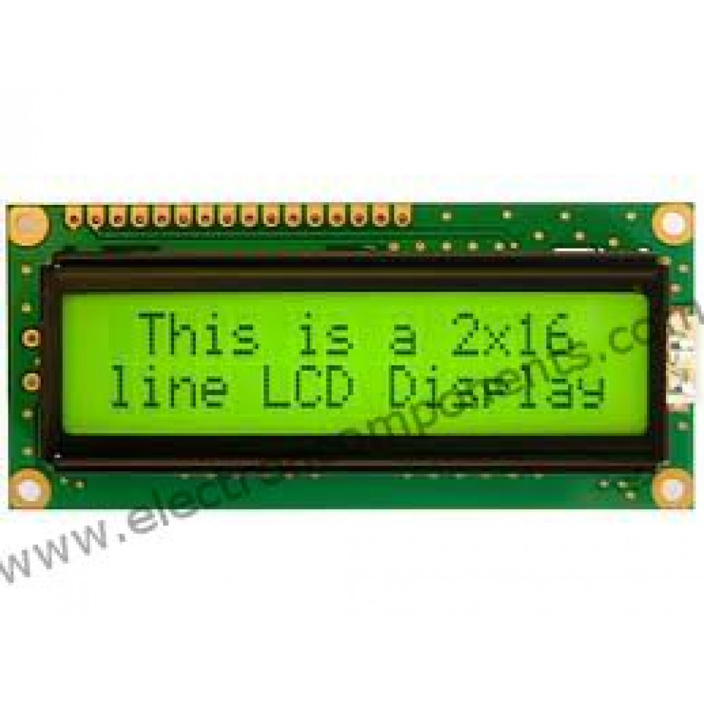 LCD 16X2 Alphanumeric Display with Green Backlight